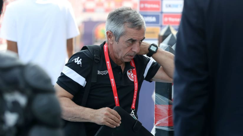 Alain Giresse, head coach of Tunisia arrives during the 2019 Africa Cup of Nations Finals match between Tunisia and Mali at Suez Stadium, Suez, Egypt on 28 June 2019 ©Samuel Shivambu/BackpagePix