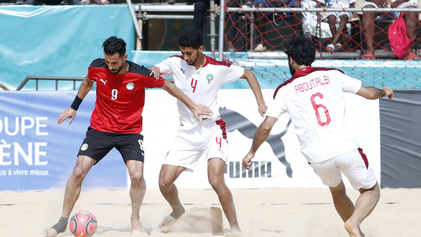 Haitham Mahsoub of Egypt challenged Zouhair Jabbary of Morocco during the 2021 Beach Soccer African Cup of Nations game between Egypt and Morocco in Thies, Saly in Senegal on 26 May 2021 © Alain SuffoBackpagePix