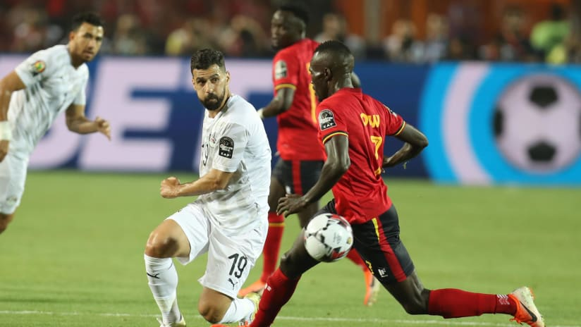 Abdallah El Said of Egypt challenged by Emmanuel Okwi of Uganda during the 2019 Africa Cup of Nations Finals Uganda and Egypt at Cairo International Stadium, Cairo, Egypt on 30 June 2019 ©Samuel Shivambu/BackpagePix