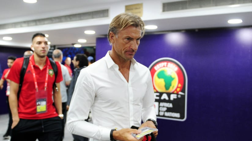 Herve Renard, head coach of Morocco arrives before the 2019 Africa Cup of Nations Finals match between Morocco and Ivory Coast at Al Salam Stadium in Cairo, Egypt on 28 June 2019 © Ryan Wilkisky/BackpagePix