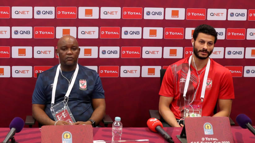 Al Ahly coach Pitso Mosimane and Captain Mohamed Elshenawy in the press conference before Total CAF Super Cup, Doha