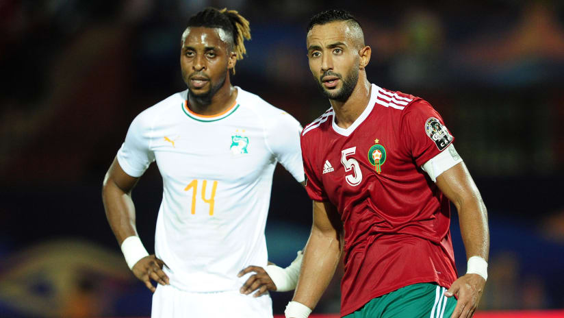Mehdi Benatia of Morocco keeps tabs on Jonathan Kodjia of Ivory Coast during the 2019 Africa Cup of Nations Finals match between Morocco and Ivory Coast at Al Salam Stadium in Cairo, Egypt on 28 June 2019 © Ryan Wilkisky/BackpagePix