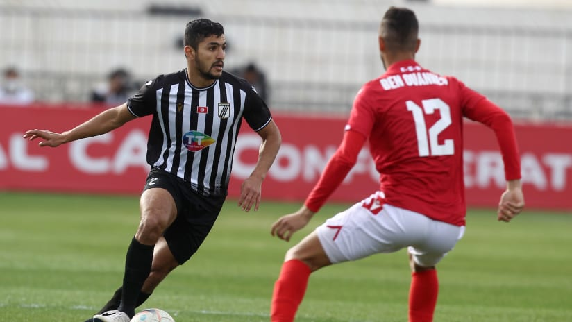Mohamed Ben Ali of CS Sfaxien challenged by Mortadha Ben Ouanes of Etoile du Sahel during the 2021 CAF Confederation Cup match between CS Sfaxien and Etoile du Sahel on the 11 April 2021 at Stade Taieb Mhiri Stad