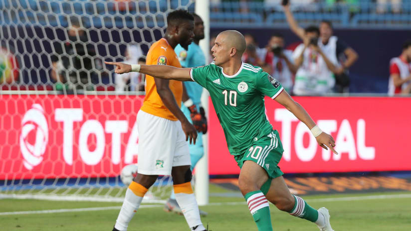 Sofiane Feghouli of Algeria celebrates goal during the 2019 Africa Cup of Nations Finals Quarterfinal football match between Ivory Coast and Algeria at the Suez Stadium, Suez, Egypt on 08 July 2019 ©Gavin Barker/BackpagePix