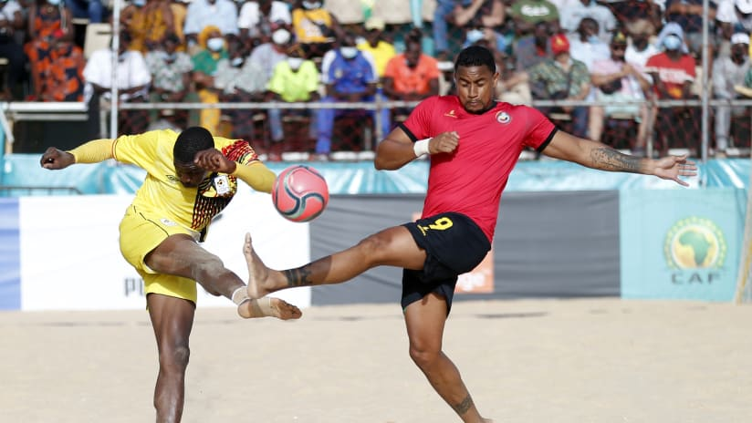 General View during the 2021 Beach Soccer African Cup of Nations Semi Final game between Mozambique and Uganda Thies, Saly in Senegal on 28 May 2021 © Alain SuffoBackpagePix