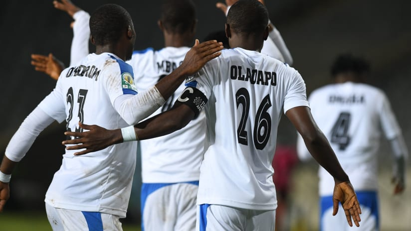 Oladapo Tunde of Enyimba celebrates goal with teammates during the 2021 CAF Confederation Cup match between Orlando Pirates and Enyimba on the 17 March 2021 at Orlando Stadium , Johannesburg