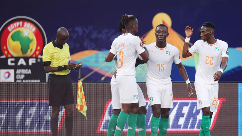 Max Gradel of Ivory Coast (c) celebrates goal with teammates during the 2019 Africa Cup of Nations match between Namibia and Ivory Coast at the 30 June Stadium, Cairo on the 01 July 2019 ©Muzi Ntombela/BackpagePix