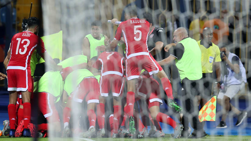 Taha Yassine Khenissi of Tunisia celebrates goal with teammates during the 2019 Africa Cup of Nations Last 16 match between Ghana and Tunisia at the Ismailia Stadium, Ismailia on the 08 July 2019