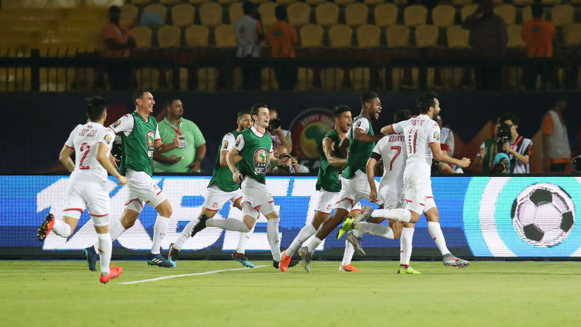 Youssef Msakni of Tunisia celebrates goal with teammates during the 2019 Africa Cup of Nations Quarterfinals match between Madagascar and Tunisia at the Al Salam Stadium, Cairo on the 10 July 2019 ©Muzi Ntombela/BackpagePix