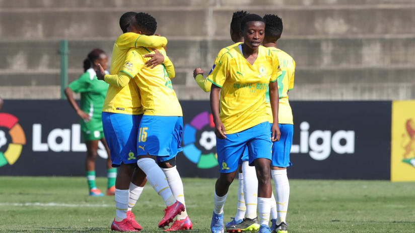 Melinda Kgadiete of Mamelodi Sundowns Ladies celebrates goal with teammates during the 2021 Total Energies CAF Womens Champions League COSAFA Qualifier semifinal1 match between Mamelodi Sundowns Ladies and Green