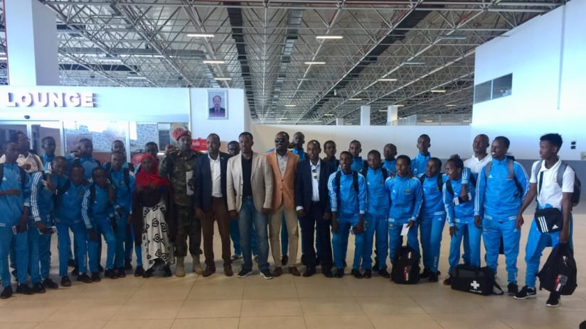 SFF president Abdiqani Said Arab 10th from right in the front row and other officials pictured with the team prior to its departure to Asmara on Tuesday morning