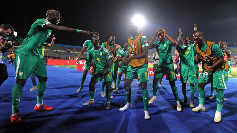 Senegal palyers celebrate after the Africa Cup of Nations 2019 Finals semifinal game between Senegal and Tunisia at 30 June Stadium in Cairo, Egypt on 14 July 2019 © Ryan Wilkisky/BackpagePix