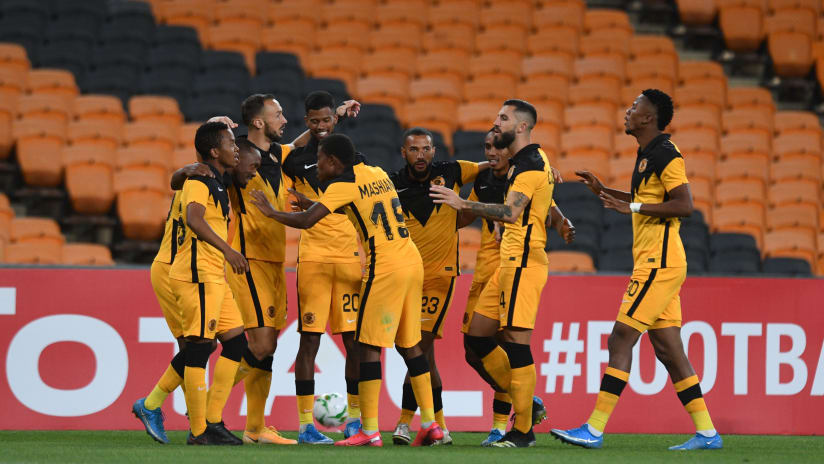 Bernard Parker of Kaizer Chiefs celebrates goal with teammates during the 2021 CAF Champions League match between Kaizer Chiefs and Wydad Casablanca on the 03 April 2021 at FNB Stadium, Nasrec