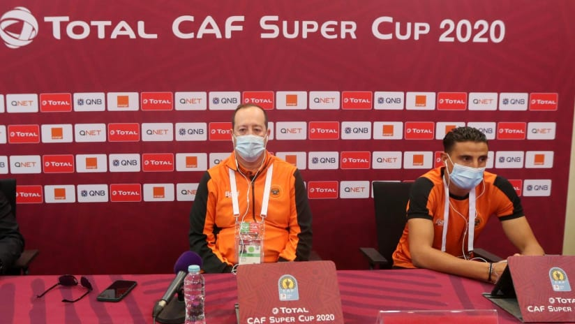 RS Berkane coach Juan Pedro Benali and captain Mohamed Aziz in the press conference before Total CAF Super Cup, Doha