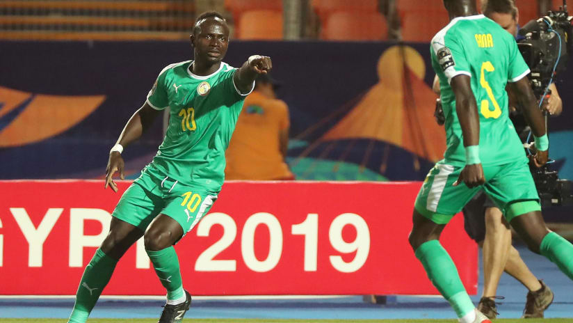 Sadio Mane of Senegal (l) celebrates goal with Idrissa Gana Gueye during the 2019 Africa Cup of Nations Finals last 16 match between Uganda and Senegal at the Al Salam Stadium in Cairo, Egypt on 05 July 2019 ©BackpagePix