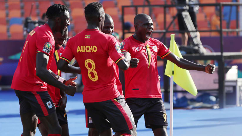 Patrick Kaddu of Uganda (r) celebrates goal  during the 2019 Africa Cup of Nations Finals football match between DR Congo and Uganda at the Cairo International Stadium, Cairo, Egypt on 22 June 2019 ©Gavin Barker/BackpagePix