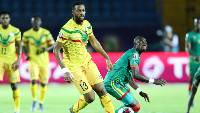 Adama Ba of Mauritania challenged by Molla Wague of Mali during the 2019 Africa Cup of Nations Finals football match between Mali and Mauritania at Suez Army Stadium, Suez, Egypt on 24 June 2019 ©Samuel Shivambu/BackpagePix
