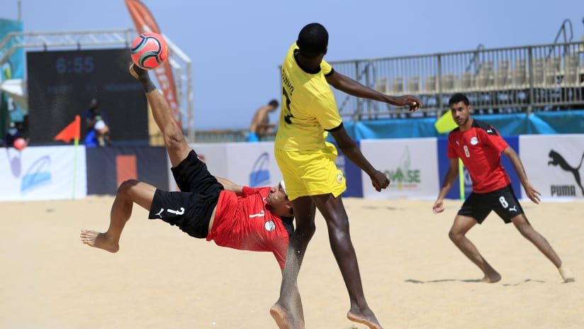 Elhusseini Aly of Egypt during the 2021 Beach Soccer African Cup of Nations game between Egypt and Mozambique in Thies, Saly in Senegal on 23 May 2021 © Alain SuffoBackpagePix
