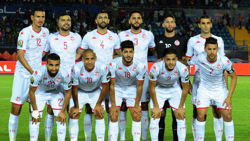 Tunisia team picture (back row l-r) Karim Aouadhi, Oussama Hadadi, Yassine Merriah, Dylan Bronn, Hassen Mouez, Ellyes Joris Skhiri (front row l-r) Sliti Naim, Wahbi Khazri, Bassem Srarfi, Wajdi Kechrida, Youssef Msakni during the 2019 Africa Cup of Nations Finals football match between Mauritania and Tunisia at the Suez Stadium, Suez, Egypt on 02 July 2019 © Ryan Wilkisky/BackpagePix