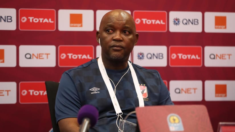 Al Ahly coach Pitso Mosimane in the press conference before Total CAF Super Cup, Doha