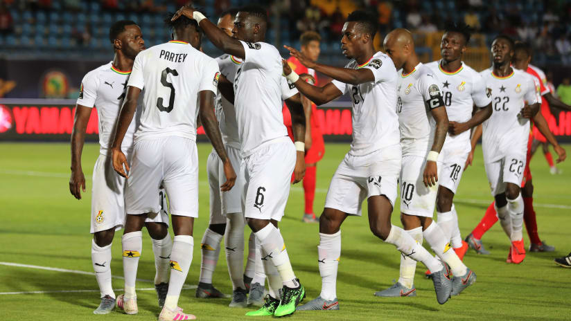 Thomas Teye Partey of Ghana (number 5) celebrates goal with teammates during the 2019 Africa Cup of Nations Finals football match between Guinea Bissau and Ghana at the Suez Stadium, Suez, Egypt on 02 July 2019 ©Gavin Barker/BackpagePix