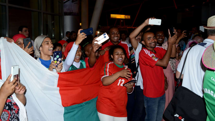 Madagascar fans at Cairo International Airport