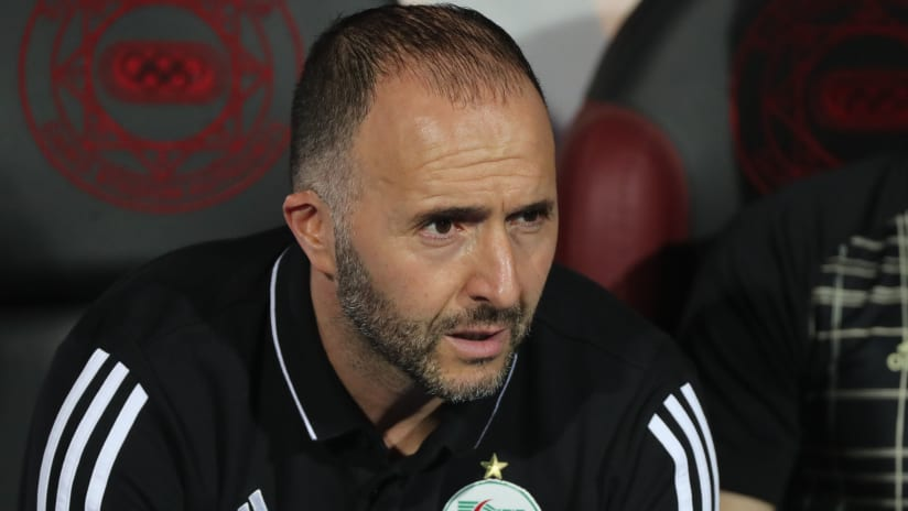 Djamel Belmadi, head coach of Algeria during the 2019 Africa Cup of Nations Finals Semifinal football match between Algeria and Nigeria at the Cairo International Stadium, Cairo, Egypt on 14 July 2019 ©Gavin Bark