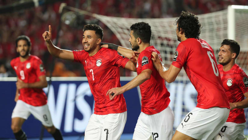Trezeguet of Egypt (l) celebrates goal  during the 2019 Africa Cup of Nations Finals football match between Egypt and Zimbabwe at the Cairo International Stadium, Cairo, Egypt on 21 June 2019 ©BackpagePix