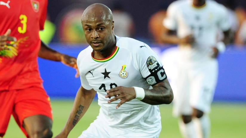 Andre Ayew of Ghana during the 2019 Africa Cup of Nations Finals football match between Guinea Bissau and Ghana at the Suez Stadium, Suez, Egypt on 02 July 2019 © Ryan Wilkisky/BackpagePix