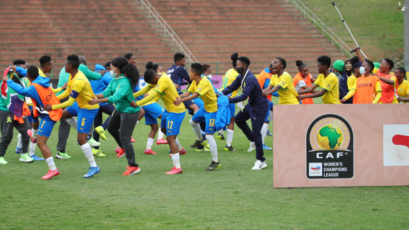 Mamelodi Sundowns winners of the 2021 Total Energies CAF Womens Champions League COSAFA Qualifier final match between Black Rhinos Queens and Mamelodi Sundowns Ladies at Goodwill Zwelithini Stadium, Durban, on