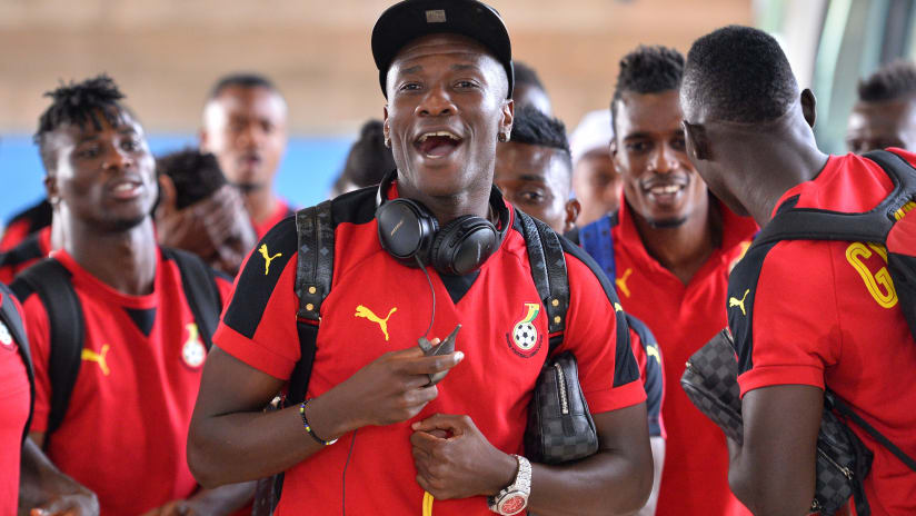Asamoah Gyan of Ghana leads the singing during the 2017 Africa Cup of Nations Finals Afcon Quarter Final football match between DR Congo and Ghana at the Oyem Stadium in Gabon on 29 January 2017 ©Samuel ShivambuB
