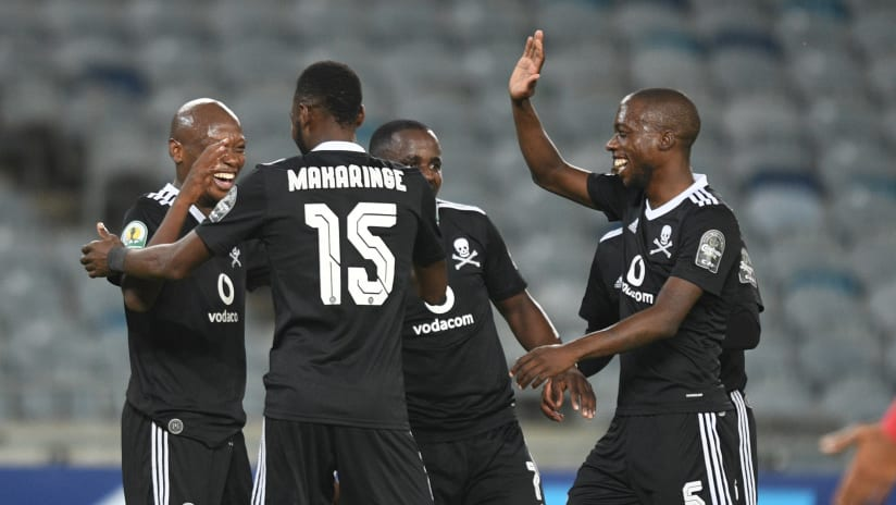 Kabelo Dlamini of Orlando Pirates celebrates goal during the 2021 CAF Confederation Cup match between Orlando Pirates and Ahly Benghazi on the 11 April 2021 at Orlando Stadium, Soweto  Pic Sydney MahlanguBackpage