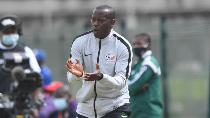 Helman Mkhalele coach of South Africa during the 2020 COSAFA U20 Youth Championship match between South Africa and Mozambique on the 08 December 2020 at Isaac Wolfson Stadium, Port Elizabeth: Pic Sydney Mahlangu:BackpagePix-