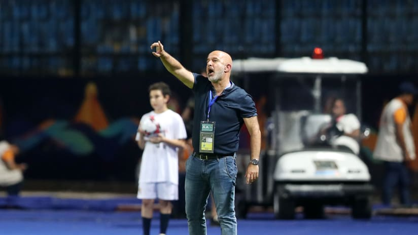Nicolas Dupuis, coach of Madagascar during the 2019 Africa Cup of Nations Finals match between Guinea and Madagascar at the Alexandria Stadium, Alexandria on the 22 June 2019