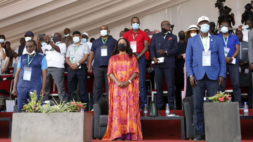 Dignitaries stand for anthems before the 2021 Beach Soccer African Cup of Nations Final between Senegal and Mozambique in Thies, Saly in Senegal on 29 May 2021 © Alain SuffoBackpagePix