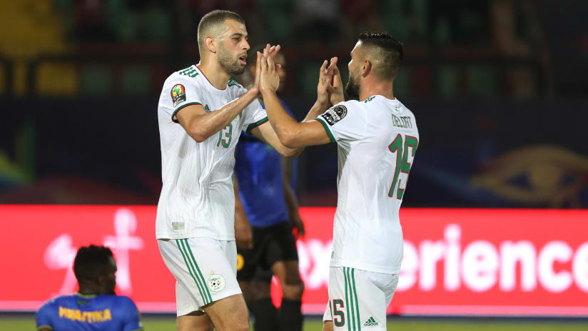 Islam Slimani of Algeria celebrates goal with teammate Andy Delort during the 2019 Africa Cup of Nations Finals football match between Tanzania and Algeria at the Al Salam Stadium, Cairo, Egypt on 01 July 2019 ©Gavin Barker/BackpagePix