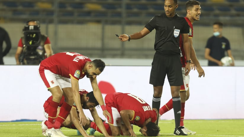 Al Ahly players celebrate during the 2021 CAF Champions League Final between Kaizer Chiefs and Al Ahly at the Mohamed V Stadium in Casablanca, Morocco on 17 July 2021 ©Fareed KotbBackpagePix