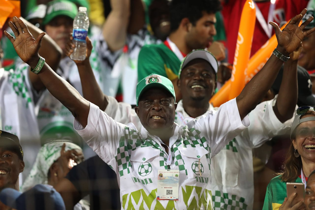 Nigeria fans during the 2019 Africa Cup of Nations Finals, quarterfinals match between Nigeria and South Africa at Cairo International Stadium, Cairo, Egypt on 10 July 2019 ©Samuel Shivambu/BackpagePix