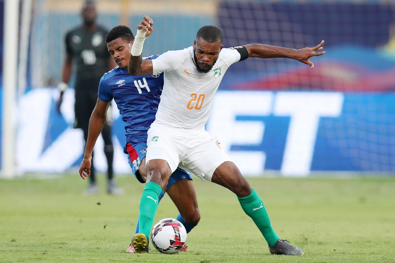 Geoffroy Die Serey of Ivory Coast challenged by Joslyn Kamatuka of Namibia during the 2019 Africa Cup of Nations match between Namibia and Ivory Coast at the 30 June Stadium, Cairo on the 01 July 2019 ©Muzi Ntombela/BackpagePix