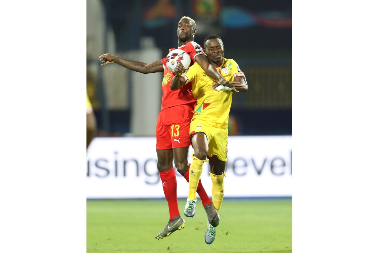 Frederic Mendy of Guinea-Bissau challenged by Abdou Adenon of Benin during the 2019 Africa Cup of Nations Finals Benin and Guinea-Bissau at Ismailia Stadium, Ismailia, Egypt on 29 June 2019