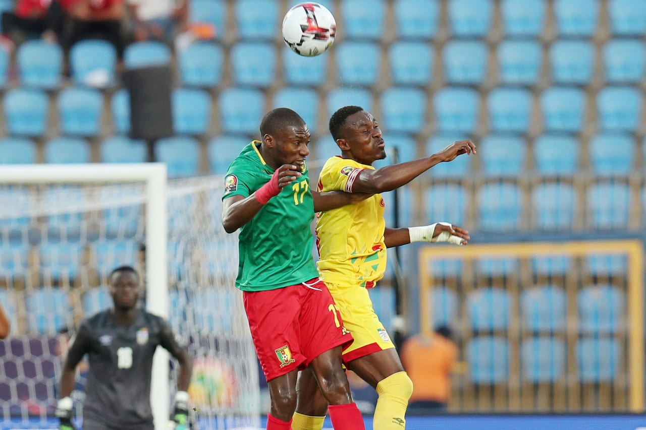Karl Toko Ekambi of Cameroon challenged by Abdou Adenon of Benin during the 2019 Africa Cup of Nations match between Benin and Cameroon at the Ismailia Stadium, Ismailia on the 02 July 2019 ©Muzi Ntombela/BackpagePix