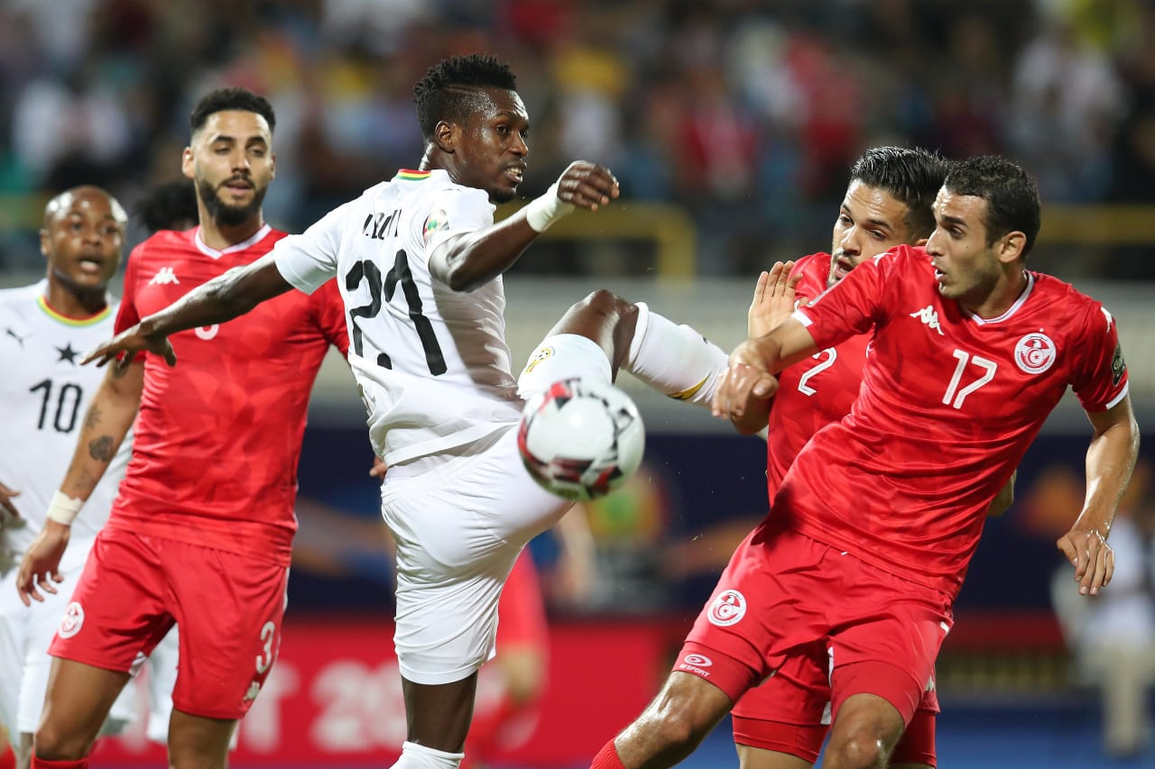 John Boye of Ghana challenged by Ellyes Joris Skhiri of Tunisia during the 2019 Africa Cup of Nations Last 16 match between Ghana and Tunisia at the Ismailia Stadium, Ismailia on the 08 July 2019 ©Muzi Ntombela/BackpagePix
