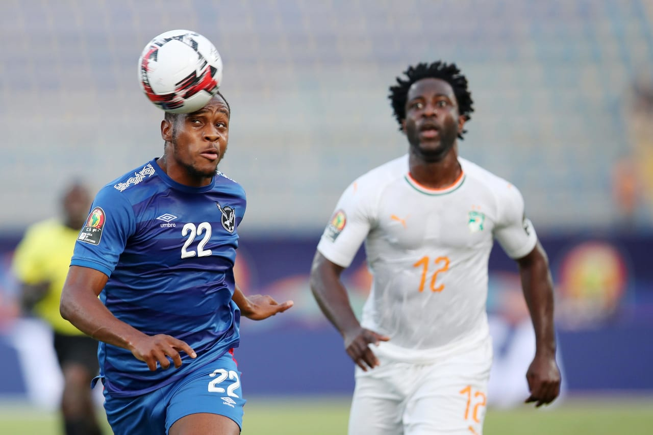 Ryan Nyambe of Namibia clears ball from Wilfried Bony of Ivory Coast during the 2019 Africa Cup of Nations match between Namibia and Ivory Coast at the 30 June Stadium, Cairo on the 01 July 2019 ©Muzi Ntombela/BackpagePix