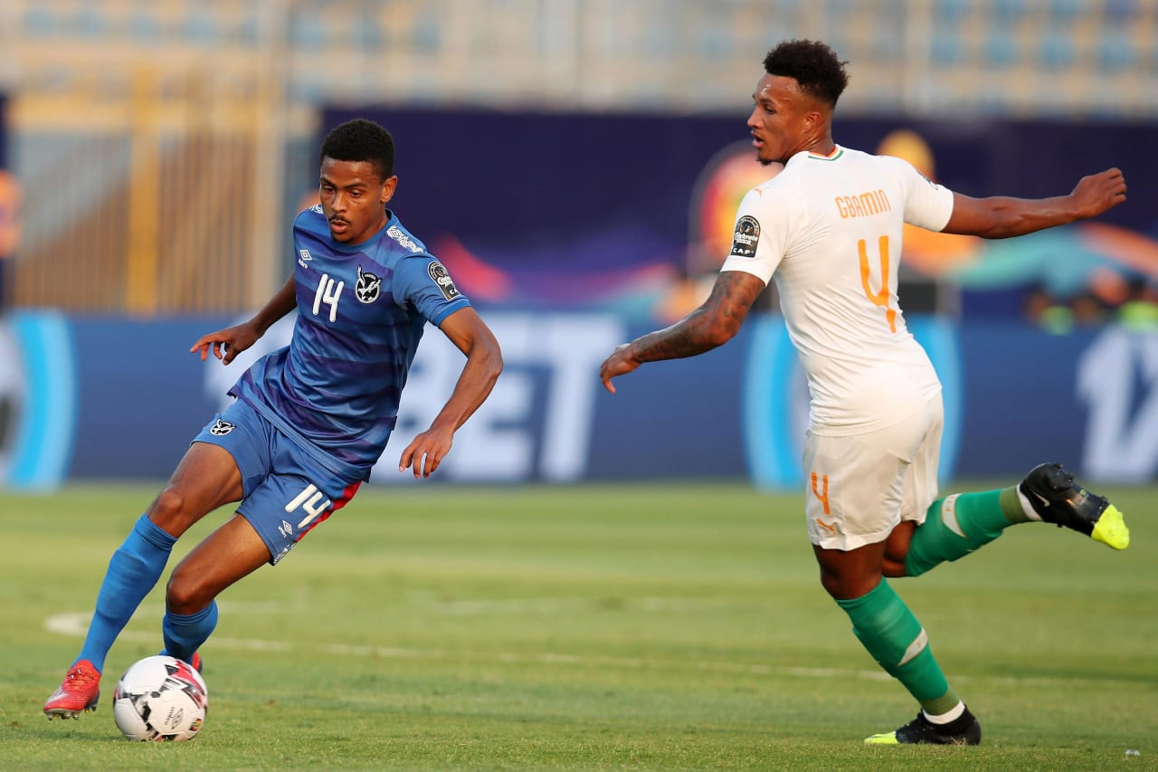 Joslyn Kamatuka of Namibia challenged by Jean Pphilippe Gbamin of Ivory Coast  during the 2019 Africa Cup of Nations match between Namibia and Ivory Coast at the 30 June Stadium, Cairo on the 01 July 2019 ©Muzi Ntombela/BackpagePix