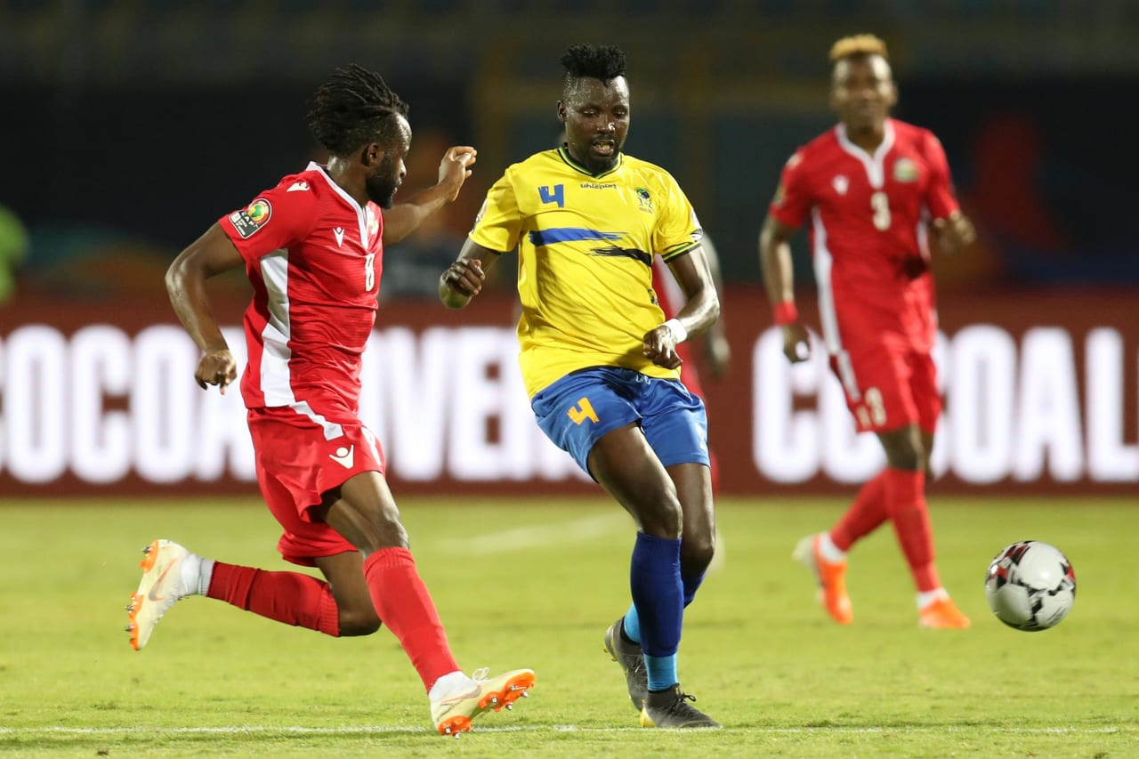 Erasto Nyoni of Tanzania challenged by Johanna Omolo of Kenya during the 2019 Africa Cup of Nations Finals match between Kenya and Tanzania at 30 June Stadium, Cairo, Egypt on 27 June 2019 ©Samuel Shivambu/BackpagePix