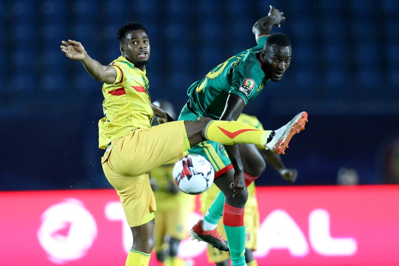 Lassana Coulibaly of Mali challenged by El Hacen El Id of Mauritania during the 2019 Africa Cup of Nations Finals football match between Mali and Mauritania at Suez Army Stadium, Suez, Egypt on 24 June 2019 ©Samuel Shivambu/BackpagePix