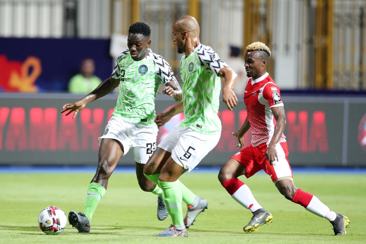 Josiah Kenneth Omeruo and William Paul Ekong of Nigeria shields ball from Abdoul Fiston of Burundi during the 2019 Africa Cup of Nations Finals match between Nigeria and Burundi at the Alexandria Stadium, Alexandria on the 22 June 2019 ©Muzi Ntombela/BackpagePix