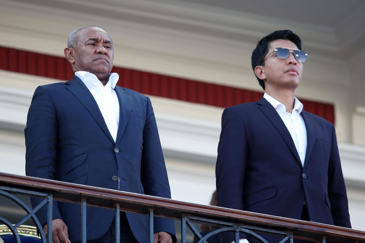CAF President Ahmad with Andry Rajoelina, President of Madagascar during the 2019 Africa Cup of Nations Last 16 match between Madagascar and DR Congo at the Alexandria Stadium, Alexandria on the 07 July 2019 ©Muzi Ntombela/BackpagePix