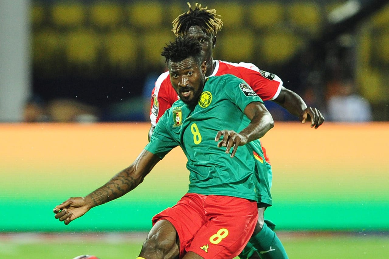 Andre Frank Zambo Anguissa of Cameroon is challenged by Piqueti of Guinea-Bissau during the 2019 Africa Cup of Nations Finals game between Cameroon and Guinea-Bissau at Ismailia Stadium in Ismailia, Egypt on 25 June 2019 © Ryan Wilkisky/BackpagePix