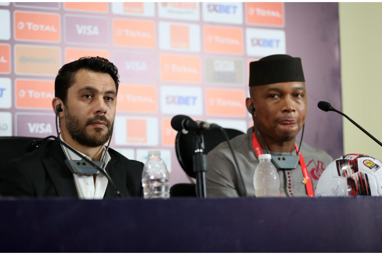 Ahmed Hassan and El Hadji Diouf CAF legends during the 2019 Africa Cup of Nations Finals CAF press conference at Cairo International Stadium, Cairo, Egypt on 30 June 2019